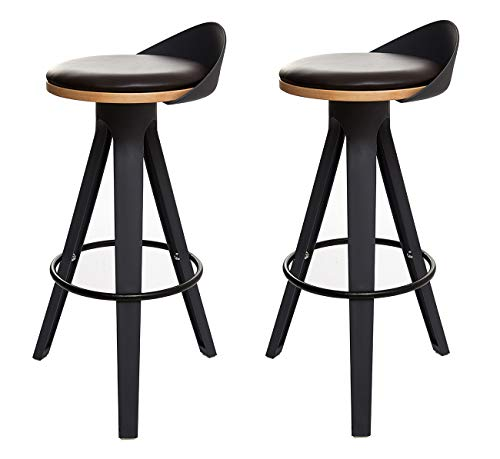 Meubletmoi Tabouret Haut Noir - Chaise de Bar trépied polypropylène - Design Industriel Contemporain - Assise Confortable - Lot de 2 - Stool 01