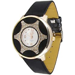 Woman Black Faux Leather Band Rhinestoone Inlaid Gold Tone Metal Accent Watch