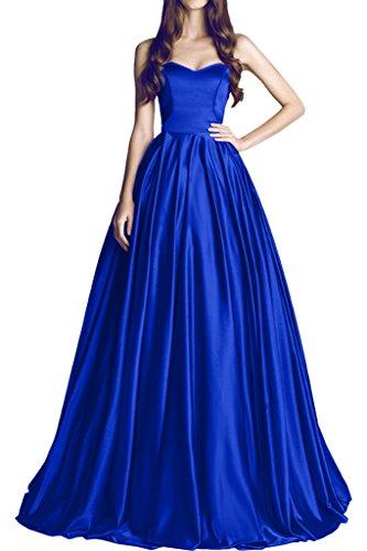 Promgirl House Damen Prinzessin Traegerlos A-Linie Abendkleider Ballkleider Hochzeitskleider Lang Royalblau