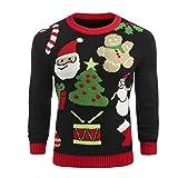 Männer Stricken Shirt Man Boy Fuoll Sleeved Pullover Mode Weihnachten gedruckt Winter Pullover Gestrickte Top Fit Striped Outwear Bluse Moonuy (XX-Large, Schwarz)
