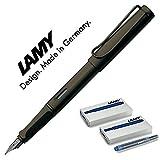 Lamy Safari umbra - Pluma, mate, pluma: F con cartuchos de tinta azul Umbra F