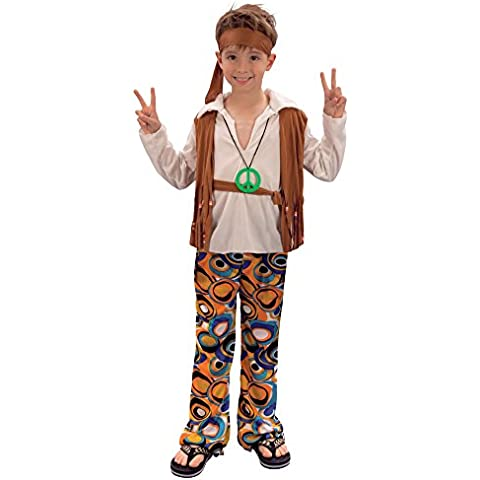 Disfraz de niño Hippy de los años 60 y 70. 6 - 9 años