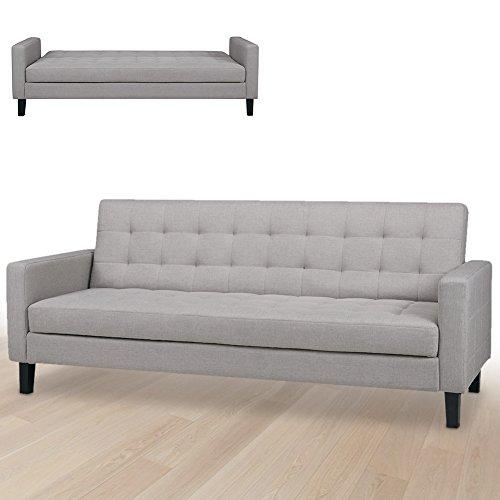Bakaji divano letto clic clac 3 posti struttura in legno rivestimento con braccioli in tessuto trapuntato imbottito piedini letto a scomparsa dimensione 204 x 85 x 81 cm (grigio chiaro)