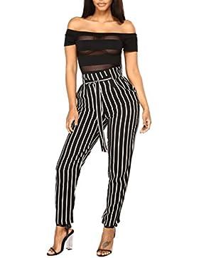 SOMESUN Pantaloni casual a vita alta a righe da donna Pantaloni da donna con elastico in vita da donna