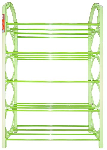 Kotak Sales Portable Folding Shoe Rack Organizer Book Cloth Kitchen Use Metal Pipes 5 Shelf Layer Plastic Design Shoerack Light Weight Easy to Carry Anywhere D1 (Green)