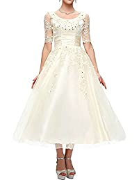 Vestidos de Novia Largo Vestido de Boda Princesa Tul Encaje Manga Corta A línea