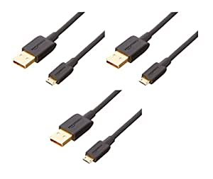 AmazonBasics Micro USB Charging Cable for Android Phones (3 Feet, Black) - 3 Pack