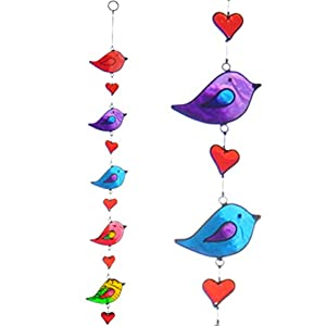 Colourful Bird Stained Glass Sun Catcher Mobile – Beautiful Window Hanging – Home Decoration by Suncatchers
