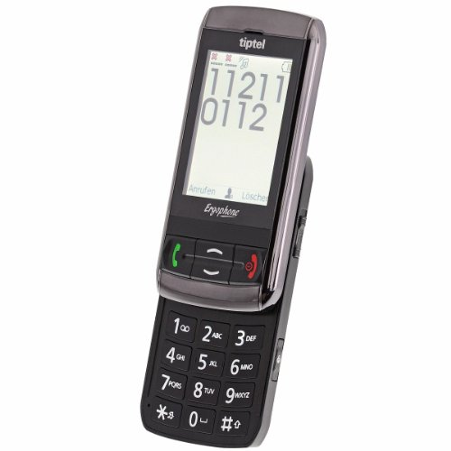 Tiptel Ergophone 6060 Slider-Großtastenhandy (Dual-SIM, Touchscreen-Display, 320 x 240 Pixel, 1,3 Megapixel Kamera, USB) Slider Bluetooth Handy