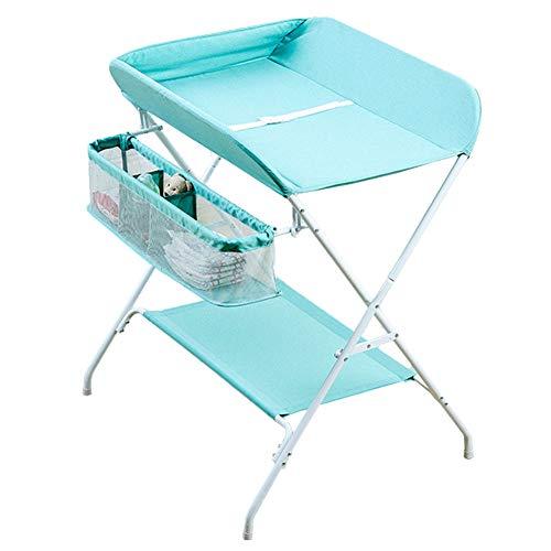 Tables à langer Unités de massage se pliant de table à langer de bébé, organisateur portatif de pépinière de station de couche-culotte pour le style croisé de jambe infantile (Couleur : Green)