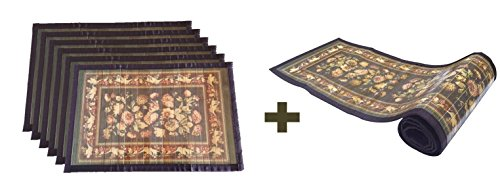 Bamboo Greens Bamboo Placemats & Dining Table Runner Set - English Flower...