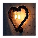 LHFING Vintage Industrial Lámparas de Pared Retro Tubo de Agua Apliques de Pared Creative Forma de corazón Luces De Pared Antiguo 2 Luces E27 Metal Luz de Pared para Dormitorio Sala de Estar Cafe