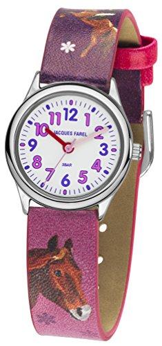 JACQUES FAREL Kinderuhr Pferd Analog Quarz Metall-Gehäuse silberfarben Mädchen rosa / pink / lila Leatherette HCC 543