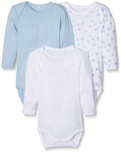 Name It Nbmbody 3p Ls Cashmere Noos, Body Bébé Garçon, (lot de 3), Multicolore (Cashmere Blue Cashmere Blue), 74