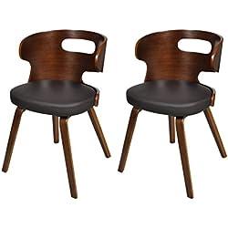 Set de 2 sillas de comedor de cuero Marco De Madera Marrón Recortable