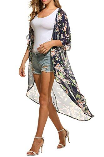 Floral Print Schal (Keland Damen Cardigan Chiffon Floral Print Kimono Sommerkleid Schal Tops (XL, Blau))