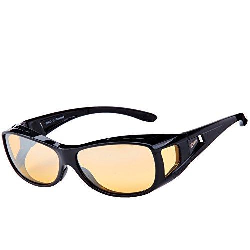 DUCO Polarisierte Nachtfahrtbrille Überbrille für Korrektionsbrille für Brillenträger Polarisierte Nachtsichtbrille 8953Y