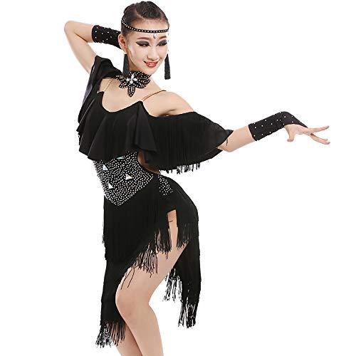 Latin Dress Dance Costume Kids Little Girl Dance Costumes Tassel Dancing Latin Rumba Salsa 4 Colors Camisole Sequins Tassels Skirt for Girls Ballroom Dance ()