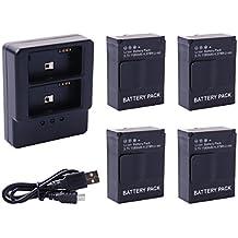 Xcsource - Cargador de batería, 3 puertos, Dual USB, 4 x 1180 mAh, para baterías AHDBT-201/AHDBT-301/AHDBT-302 para GoPro HD Hero 33, incluye batería y cable BC320
