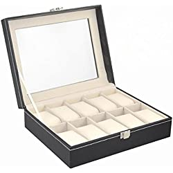 Yahee Uhrenkasten Uhrenbox Schmuckbox für 10 Uhren inkl. Fächern und Schaufenster