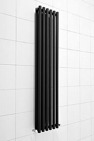 Radiateur eau chaude vertical double design Harstad 1220 W - 1600 x 333 – Noir - Chauffage central - Maison