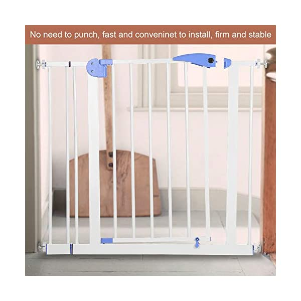 Baby Children Safety Gate Door Auto Close Swing Shut Stair Fence Pet Protection High and Wide Pressure Fit Safety Gate Ideal None Screw Stable and Durable Protective Safety Gate for Babies or Pets Ejoyous ღ Auto Close Double Lock 100% Safe ღ This Safety Gate Door adopt double lock and auto close design. There are 2 locks separately located on the top and bottom of the gate, which makes sure that your kids won't accidentally open it and get out. Besides the auto close design also buy you an insurance for careless forgetting to close it. Also it can locate 90 ° normally open, very convenient for long time in and out. These triple protection let your baby totally free from danger ღ Pressure Fit Set Easy Assemble ღ There is no need of any drilling work. The 4 pressure point will let the Safety Gate be firmly and stably fixed on the wall. Extremely easy to get the assemble job done or disassemble to move it to any place else ღ 85-94cm Wide High Versatility ღ The original wide(81 cm) plus extension accessories (10 cm) makes a total 91 cm wide along with the extension pressure point can let the gate be set at 85-94cm doorways, hallway or stairway (the most common wide of house design). You are free to choose using extension accessories or not 4
