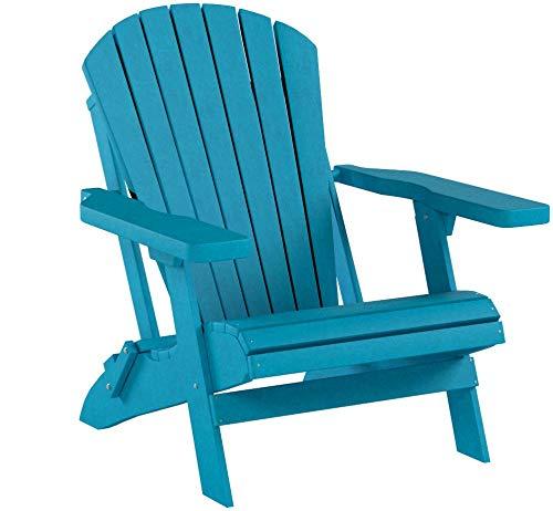 """Adirondack Klassischer Klappstuhl, Holzmaserung, Poly Sieht genau aus wie Holz, ohne die Wartung - 350 kg Kapazität - King Size 33\"""" W x 33\"""" D x 36\"""" H Blau - Aruba Blue"""