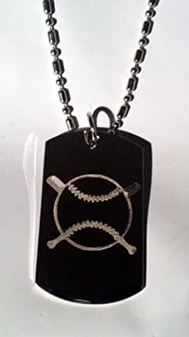 Baseball Cross Bat Sports Logo Symbols - Military Dog Tag Luggage Tag Key Chain Metal Chain Necklace by Dog Tags