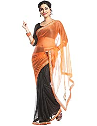 Florence Net Saree with Blouse Piece (FL-Lycra9_Orange and Black_One Size)