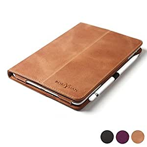 Boriyuan iPad Pro 9.7 Case, Vintage Genuine Leather Case Slim Stand Cover for Apple iPad Pro 9.7 inch 2016 with Magnetic Auto Wake/Sleep Function, Brown