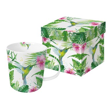PPD 603265, Mug avec poignée en porcelaine décorée - motif: Tropical Colibrí