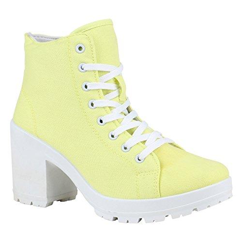 Damen Ankle Boots Plateau Stiefeletten Profilsohle Schnürstiefeletten High Heels Schuhe Schnür-Halbschuhe 155810 Gelb Weiss 41 Flandell