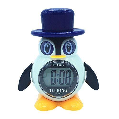 VISIONU Reloj Despertador Parlante en Español, Tipo pinguino, Alarma LCD con Voz, Reloj...
