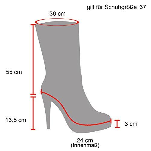 Stiefelparadies Damen Overknees Stiefel Stiletto High Heels Langschaftstiefel Wildleder-Optik Leicht Gefütterte Plateau Schuhe Blockabsatz Flandell Rot All