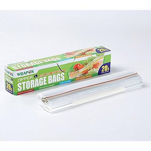 Bolsas de almacenamiento, bolsas para congelación, una serie de bolsas para el transporte, con cierre la cremallera, modelo de tamaño grande, caja de 20 bolsas de 26,8 cm x 27,9 cm x 45 micrómetros, para el uso en el hogar e industria