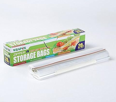 Sacs de conservation/congélation, sachet fraicheur avec fermeture ZIP - Grand modèle - Boîte de 20 sacs - 26,8 cm x 27,9 cm x 45 µm - Usage domestique et industriel