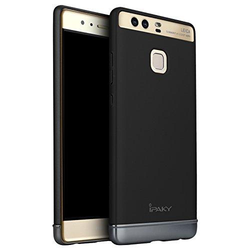 Huawei P9 Hülle, ivencase Ultra Slim Luxus 2 in 1 Design Hybrid Hart Plastik Schale Schutz Bumper Tasche Case Cover mit Chrom Rahmen für Huawei P9 5.2 Zoll Schwarz