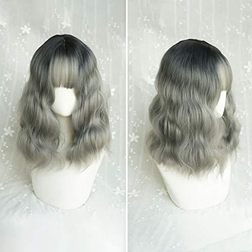KHJK Haarstyling Lolita Short Curly Wavy Lace Front Perücken mit Air Pony Farbe gemischt Gradient Hitzebeständige Kunstfaser Haar für Cosplay 20 Zoll / 50 cm Saloneinrichtung