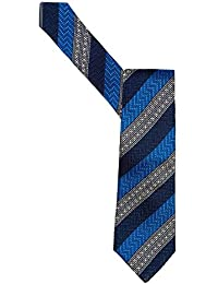 Duchamp Mens Tie Blue Morse Diagonal Striped Tie