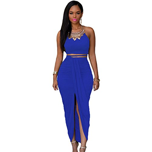 meinice cotone due pezzi Maxi gonna Set Blue Medium
