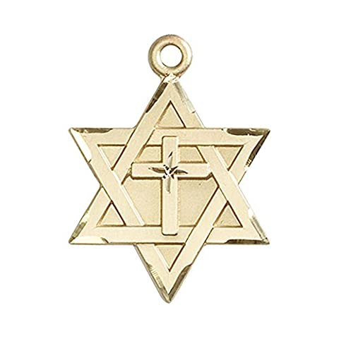 14ct Gold Star of David W/ Cross Medal. Includes deluxe flip-top gift box. Medal/Pendant measures 1 1/4