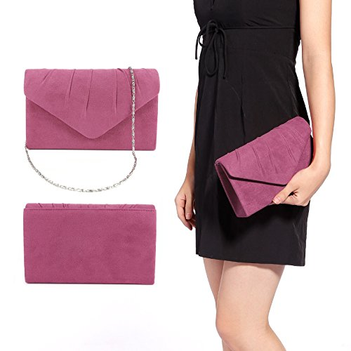 Faschion Suede Bridal Clutch Damen Umschlagtasche Handtasche Abendtasche 7 Farbe Lilapink