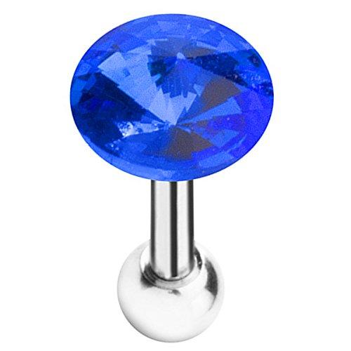 Piersando Tragus Piercing Helix Ohr Cartilage Knorpel Stab Stecker Edelstahl Kristall Kugel Blau