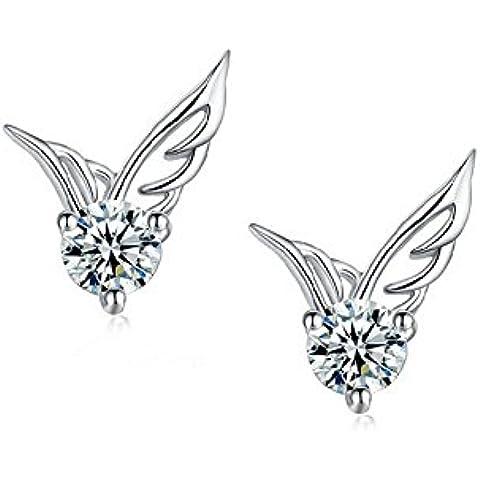 Invierno S Secret Pure White AAA Zircon alas de ángel con Shining Romántico Pendientes de
