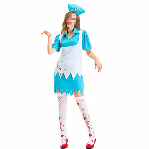 Weibliche Krankenschwester Kostüm - kMOoz Halloween Kostüm,Outfit Für Halloween Fasching Karneval Halloween Cosplay Horror Kostüm,Halloween Maskerade Kostüm Erwachsene Cos Weibliche Horror Krankenhaus Krankenschwester
