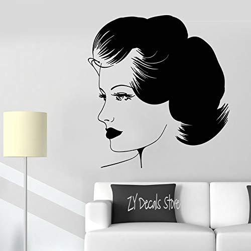 Schönheitssalon Vinyl Wandtattoo Retro Schöne Frau Gesicht Make-Up Frisur Aufkleber Friseursalon Für Friseur Wanddeko 30x38cm