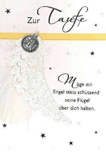 Glückwunschkarte Zur Taufe Möge ein Engel stets schützend seine Flügel über dich halten - Motiv 011