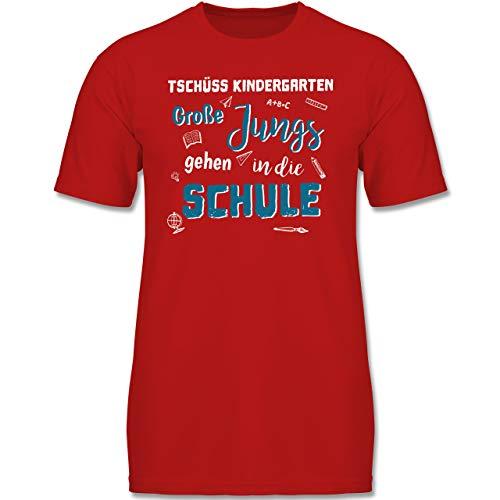 Verrückte Jungs T-shirt (Einschulung und Schulanfang - Tschüss Kindergarten Große Jungs - 140 (9-11 Jahre) - Rot - F130K - Jungen Kinder T-Shirt)