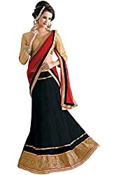 Florence Womens Net Lehenga Choli (AN_1056_Black)