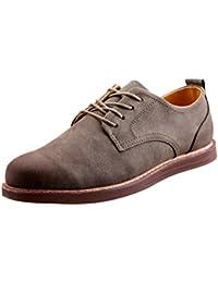 DoraMe hombres Zapatos de cuero con cordones ocasionales moda de Inglaterra (Gris, EU:41/CN:42)